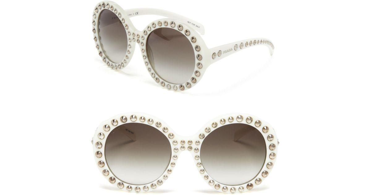 77b389ef10 Lyst - Prada 56mm Studded Round-frame Sunglasses in White