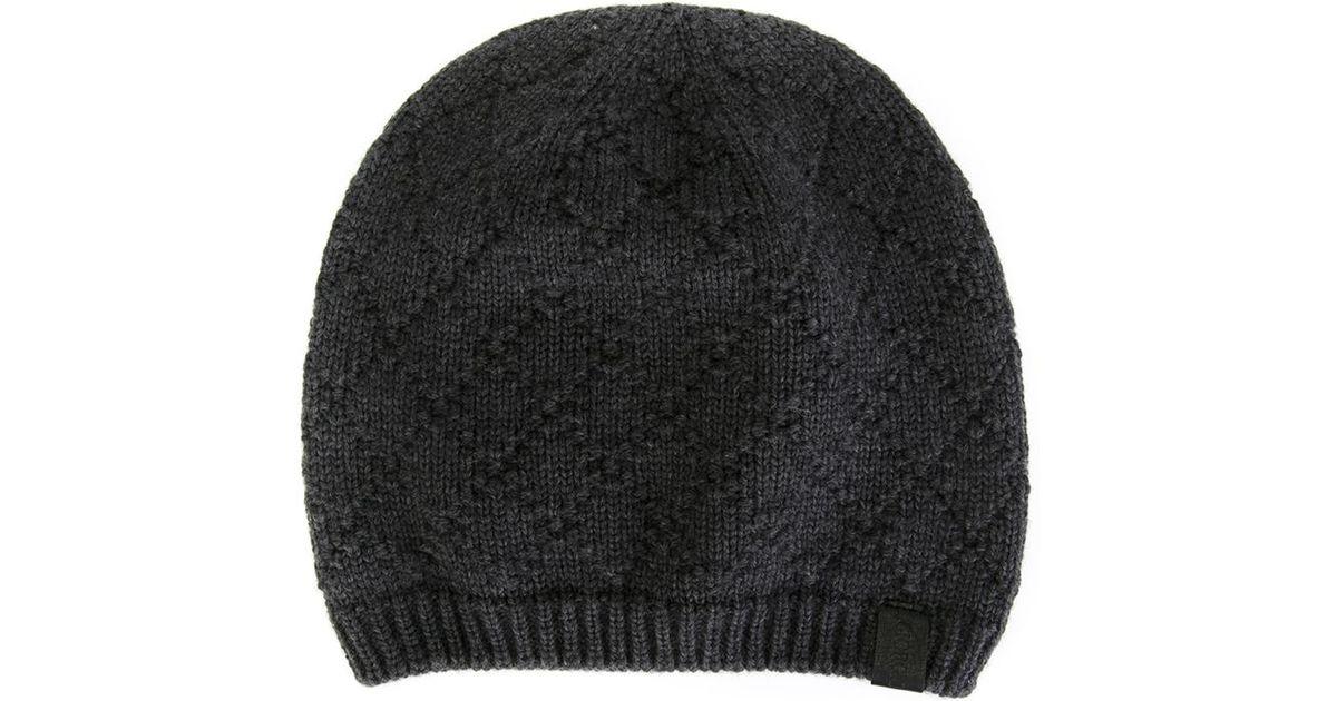 69e898ae179 ... where to buy lyst giorgio armani diamond pattern beanie hat in gray for  men 3a2ce 5fa58