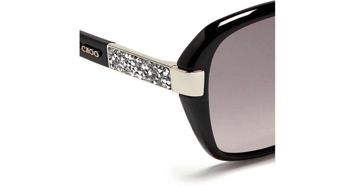 16082ae3cad Lyst - Jimmy Choo  alana  Crystal Temple Acetate Sunglasses in Black