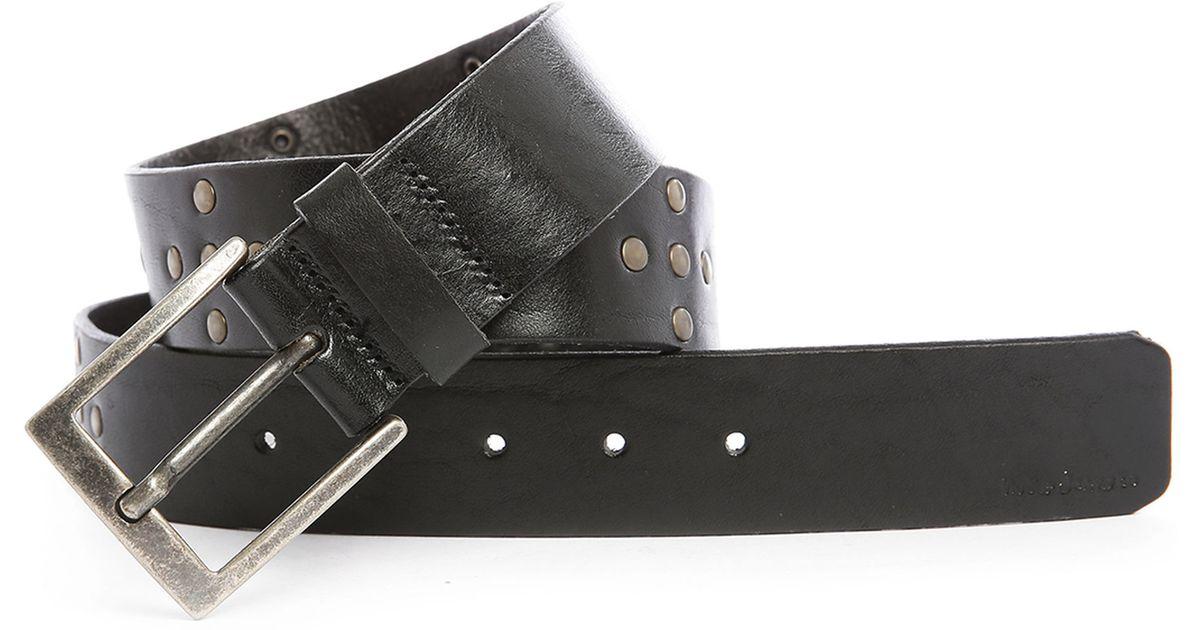 nudie black nathansson studded leather belt in black