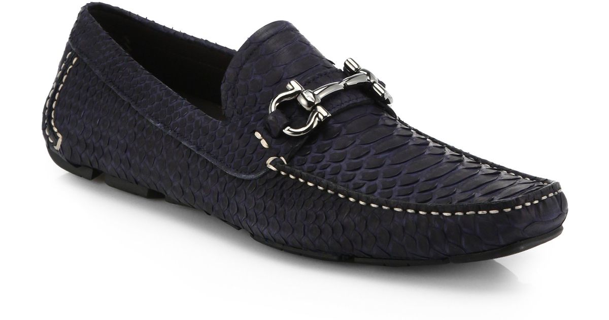 Ferragamo Python Loafers In Blue For Men Lyst