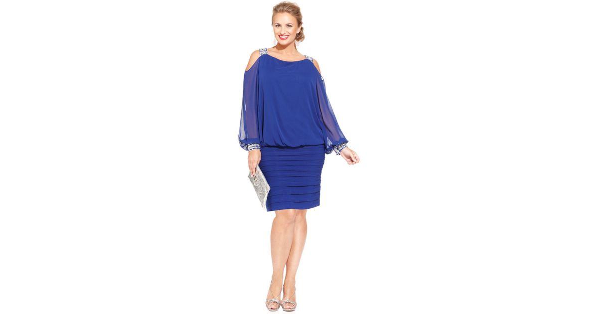 991f5634090 Lyst - Betsy   Adam Plus Size Cold-shoulder Embellished Blouson Dress in  Blue