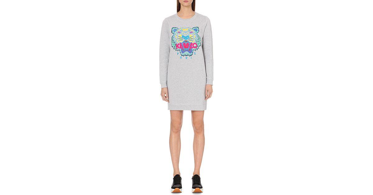 229028a532 KENZO Tiger Cotton-jersey Sweatshirt Dress in Gray - Lyst