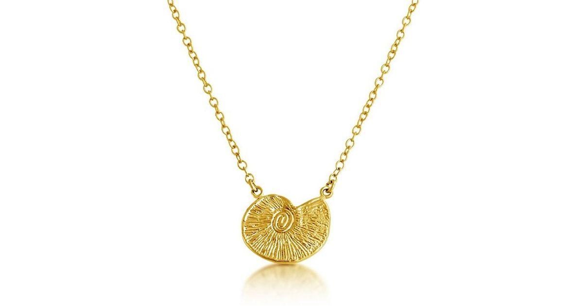 Lyst belcho small seashell pendant necklace in metallic aloadofball Gallery