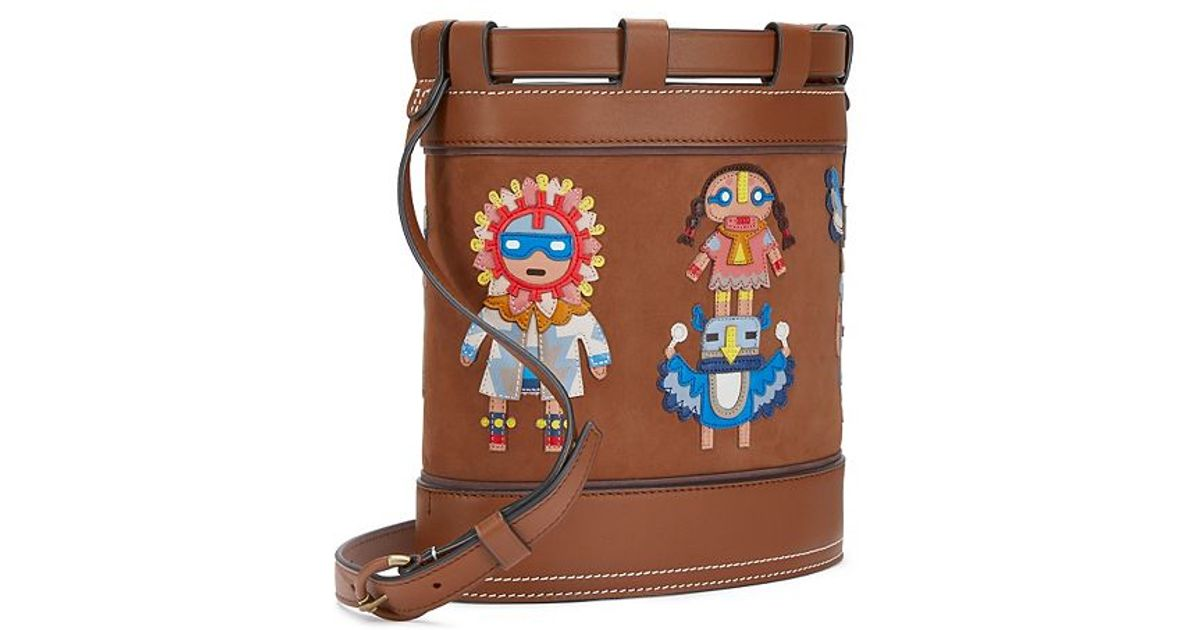 Lyst tory burch embroidered doll appliqué bucket bag in brown