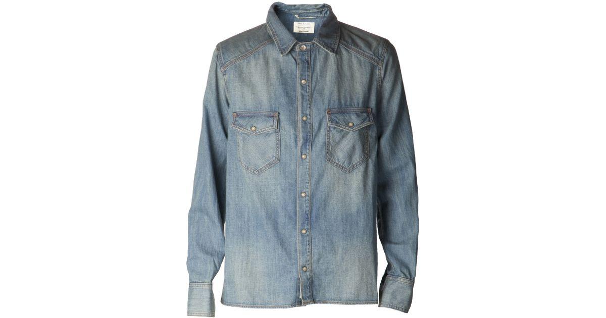 f47d81eb Rag & Bone 'Western' Shirt in Blue for Men - Lyst