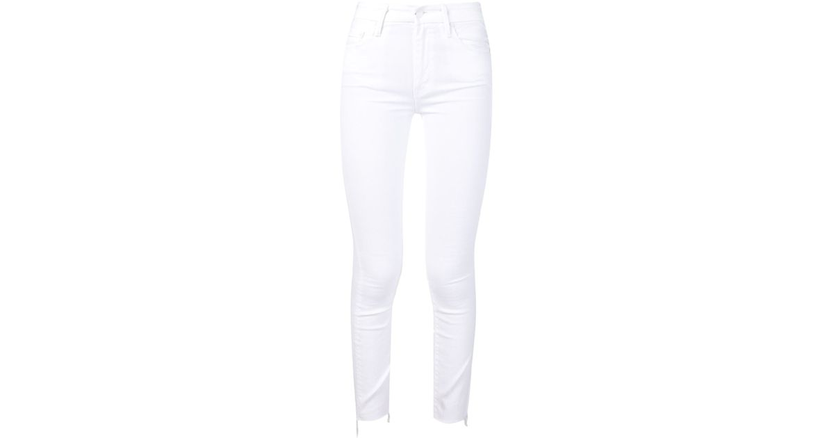 Mother Frayed Hem Skinny Jeans in White | Lyst