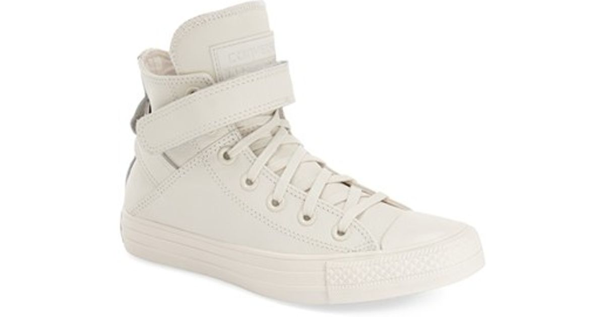 5b1edf4524ce Lyst - Converse Chuck Taylor All Star  brea  Leather High Top Sneaker in  White