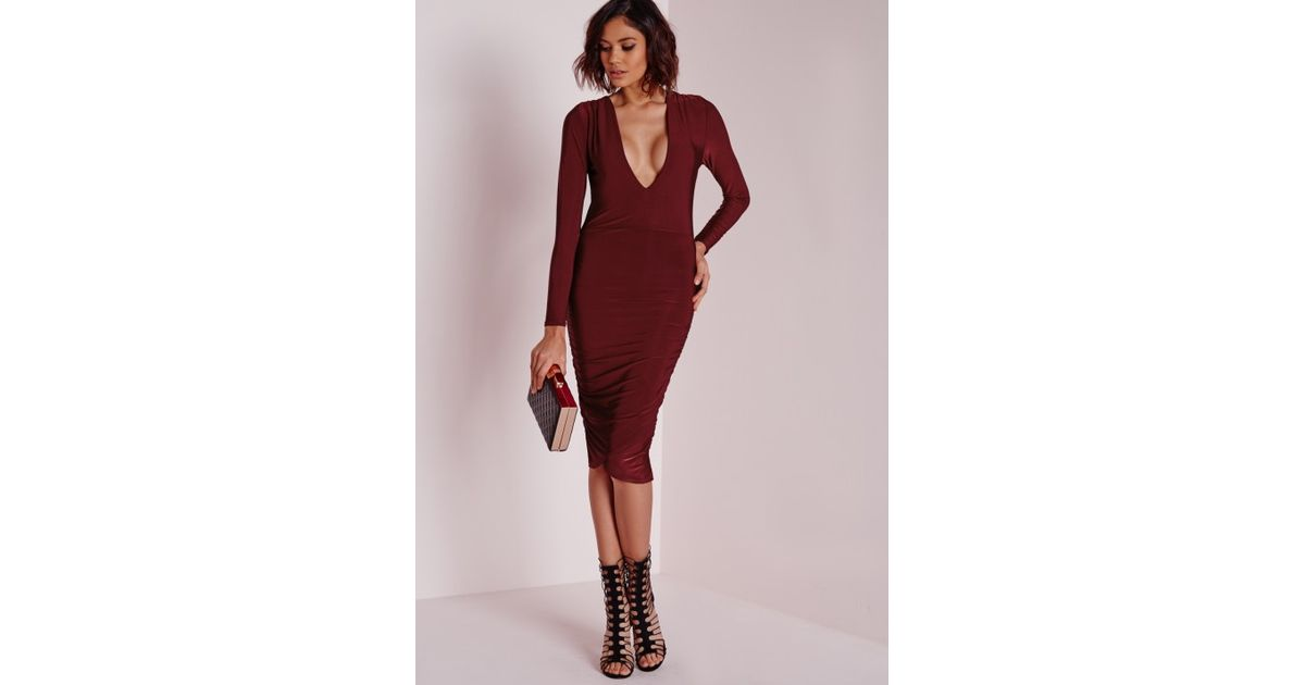 Lyst - Missguided Slinky Plunge Long Sleeve Midi Dress Burgundy in Purple a2a035ac6