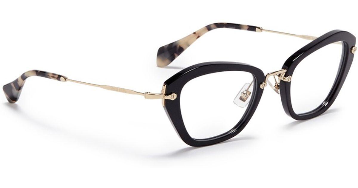 c0bc30d7582e9 Miu Miu  noir  Tortoiseshell Tip Optical Glasses in Black - Lyst