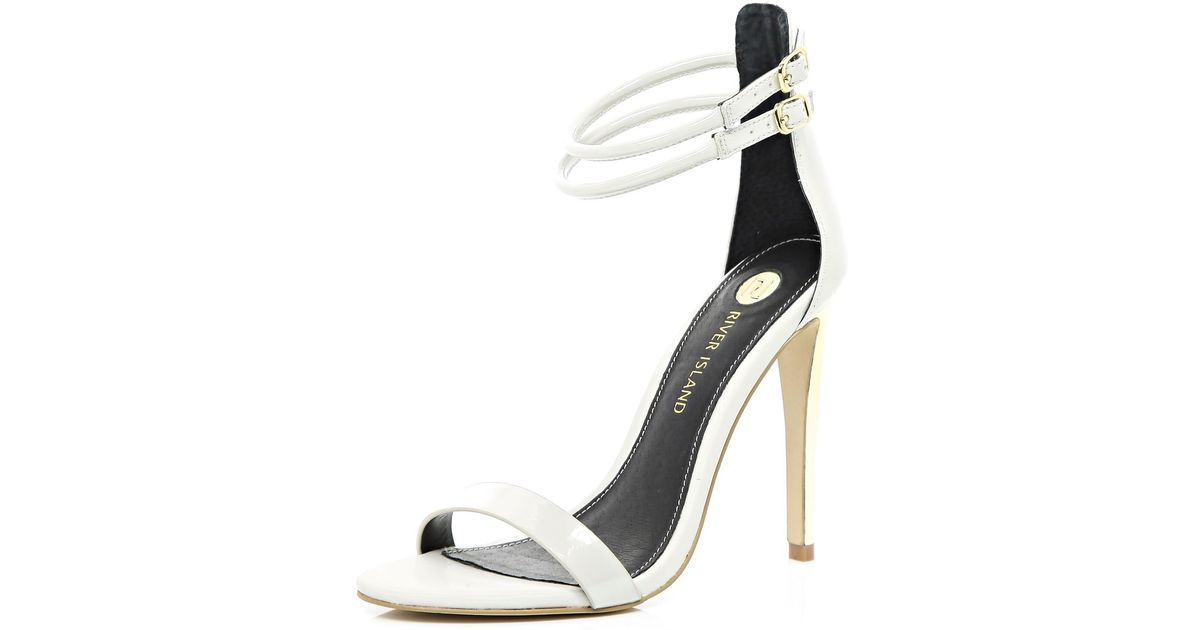 a559b59a10c River Island Light Grey Double Strap Barely There Sandals in Gray - Lyst