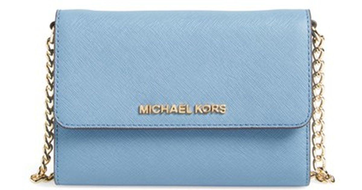 120281c0adc Lyst - MICHAEL Michael Kors  jet Set - Large Phone  Saffiano Leather  Crossbody Bag in Blue