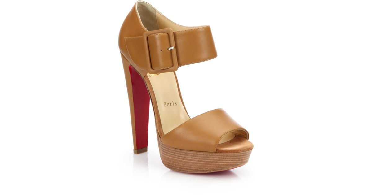 christian laboutain shoes - Christian louboutin Haute Retenue Leather Platform Sandals in ...
