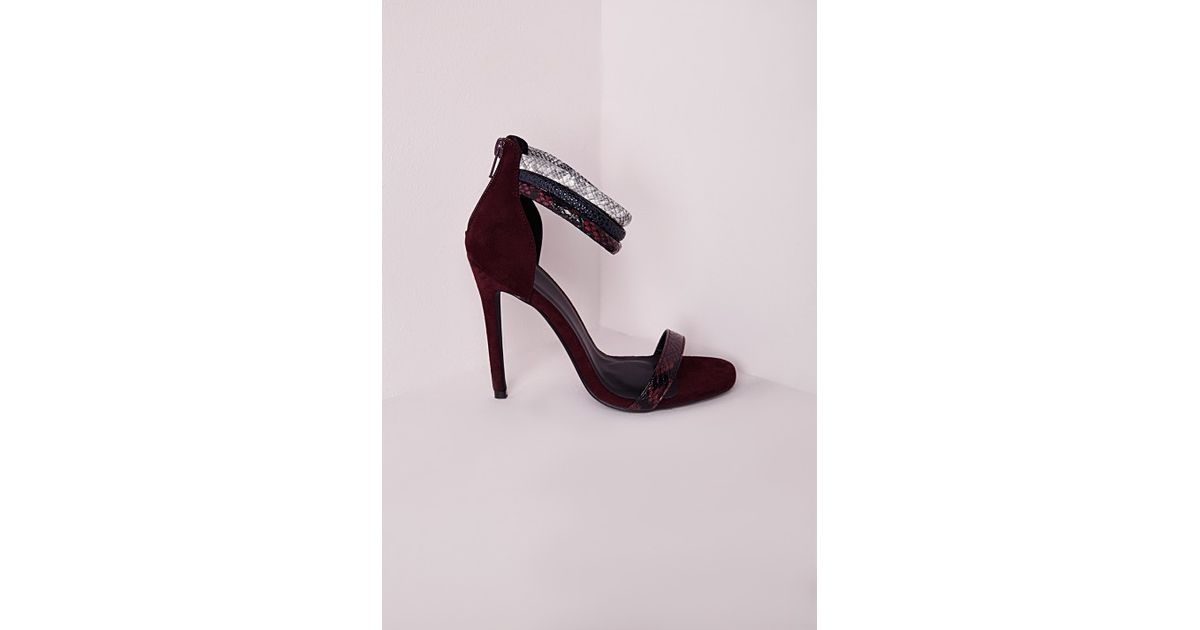 6d394e68ae76 Lyst - Missguided 3 Strap Ankle Barely There Heeled Sandal Oxblood in Purple