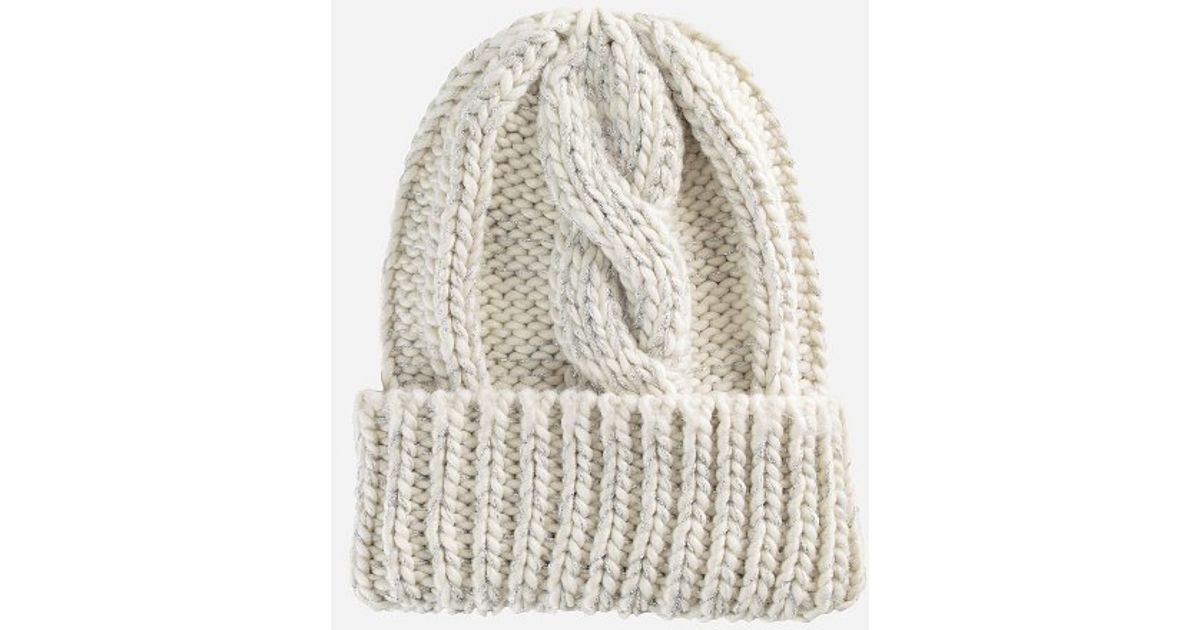 ... 28e1b dd1d0 Lyst - San Diego Hat Company Womens Cable Knit Beanie With  Metallic Yarn And ... 51b8980c5d
