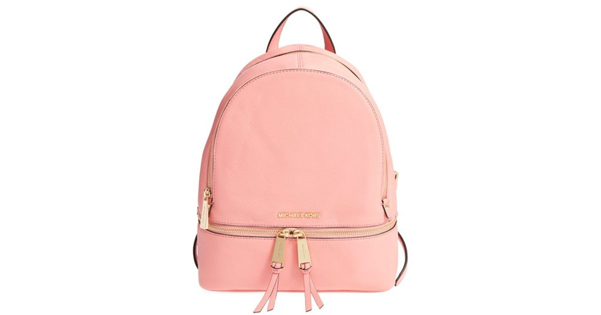 ce35cbbb3f ... new zealand lyst michael michael kors small rhea zip leather backpack  in pink 050aa 79812