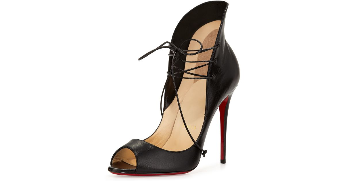 Lyst - Christian Louboutin Mega Vamp Lace-up Red Sole Pump in Black d608396bff