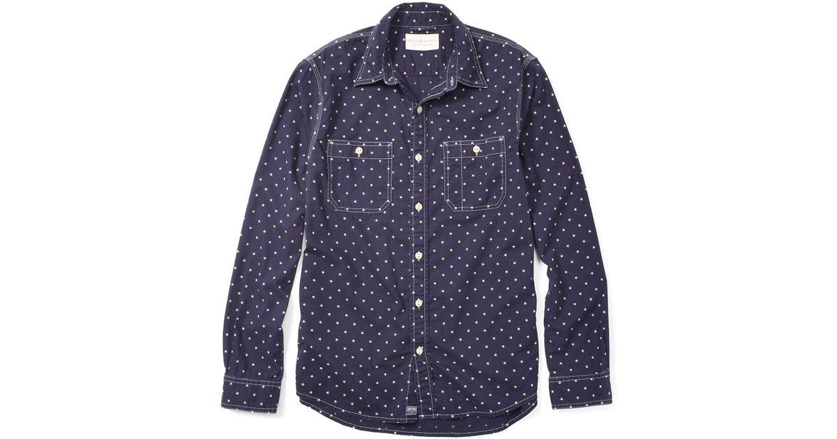 Lyst Denim Supply Ralph Lauren Star Slub Cotton Workshirt In Blue For Men