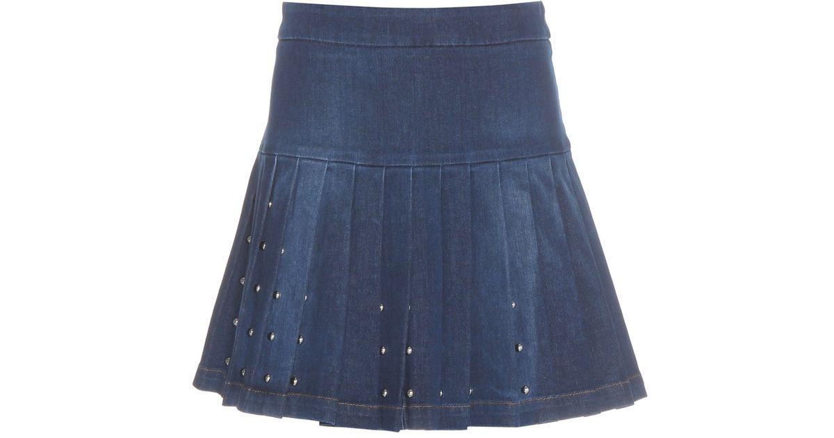 mcq embellished denim skirt in blue lyst