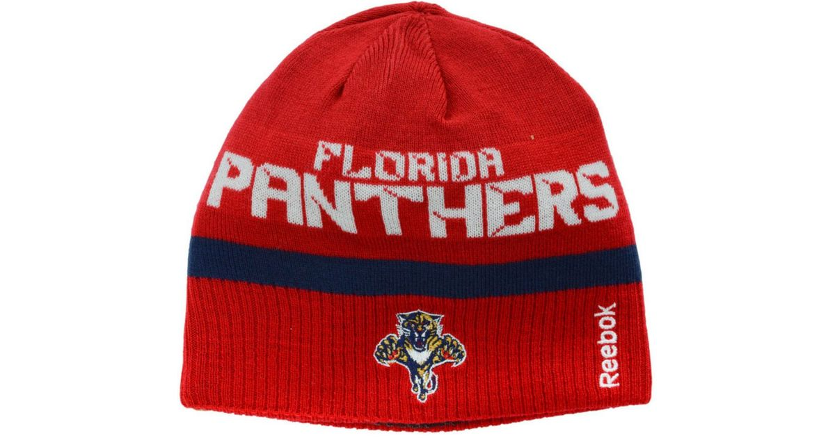 21b77410a24 Lyst - Reebok Florida Panthers Player Reversible Knit Hat in Red for Men
