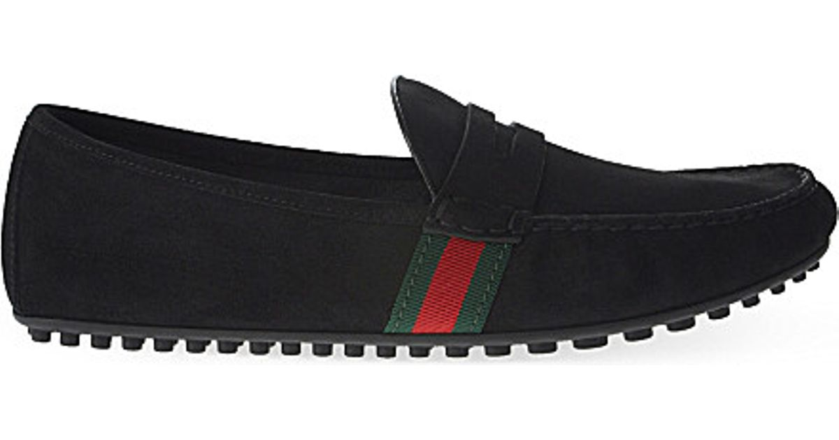 ceb5200c9e3 Lyst - Gucci Kanye Suede Web Driving Shoes in Black for Men