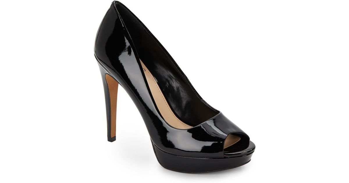 Vince Camuto Janeese Patent Leather Peep Toe Pumps In