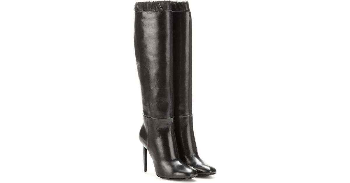 tom ford leather knee high boots in black lyst