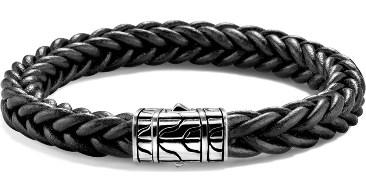 Lyst John Hardy Limited Edition Clic Chain Sterling Silver Braided Bracelet In Black Leather For Men