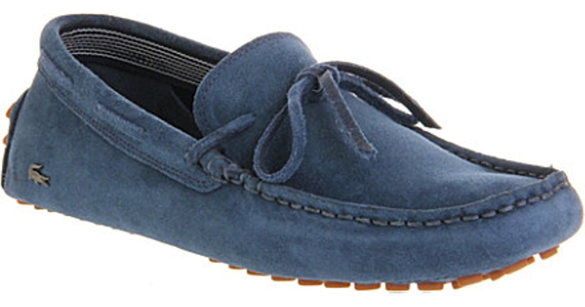 c706c99eb59165 Lacoste Concours Lace-Up Suede Driving Moccasins - For Men in Blue for Men  - Lyst