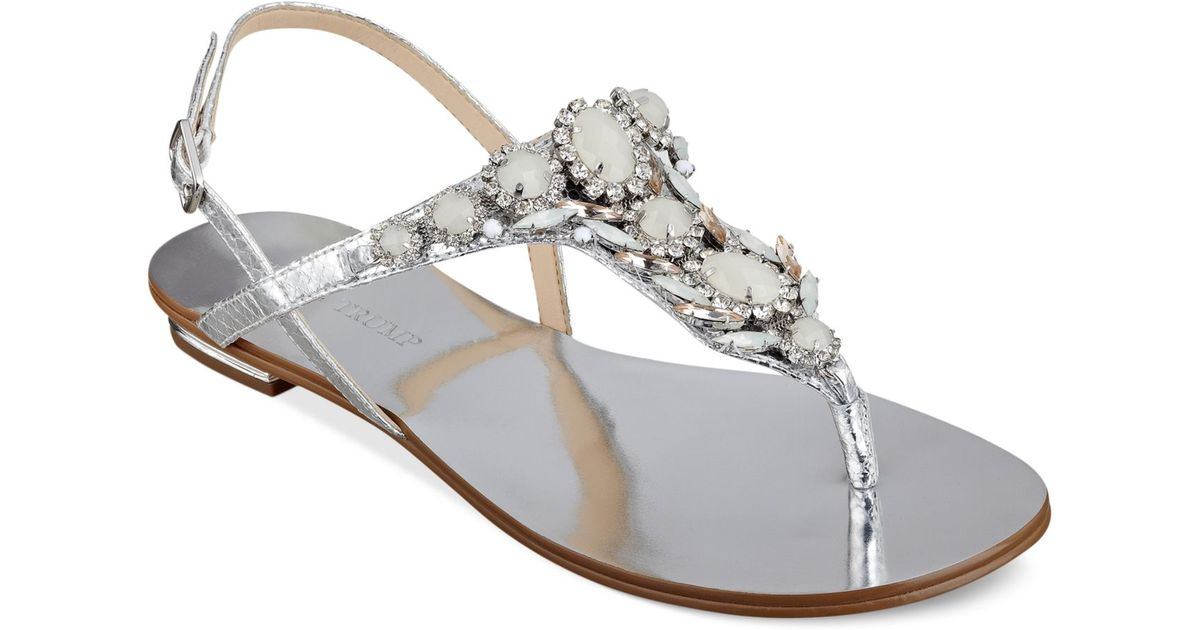 02c1b103f Lyst - Ivanka Trump Fona Jeweled Thong Sandals in Metallic
