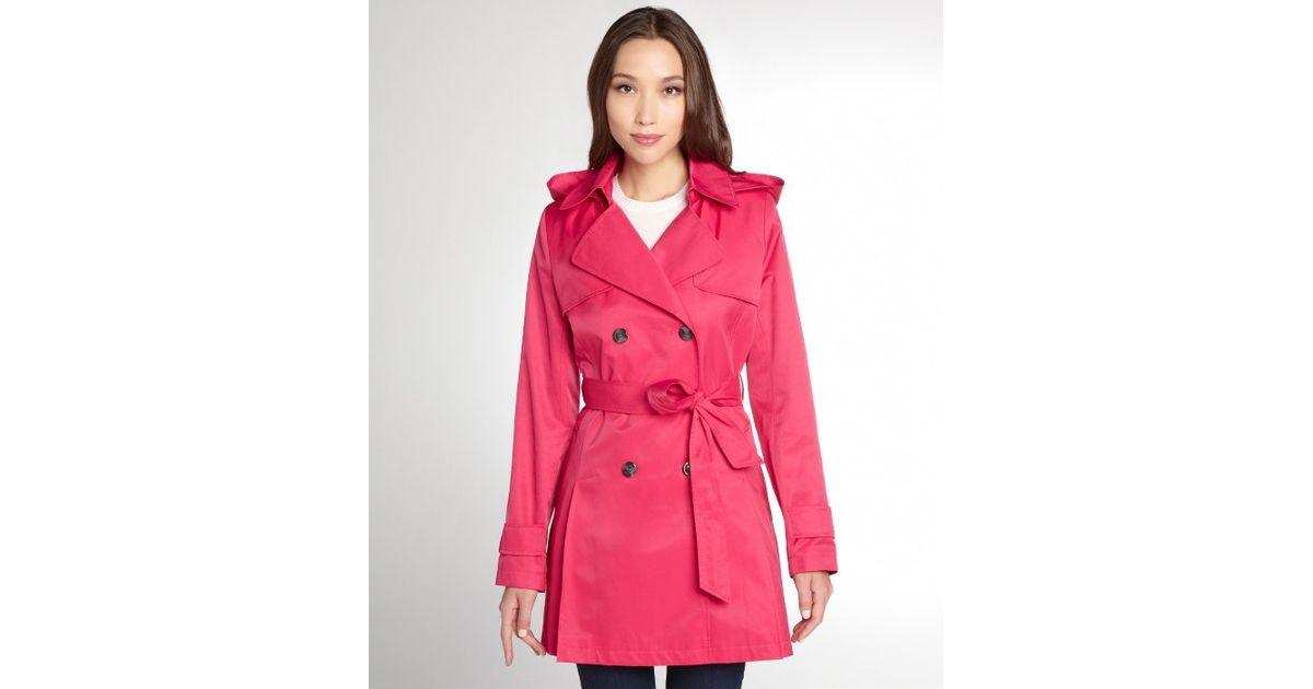 Dkny Primrose Cotton Blend Abby Short Hooded Trench Coat in Pink ...