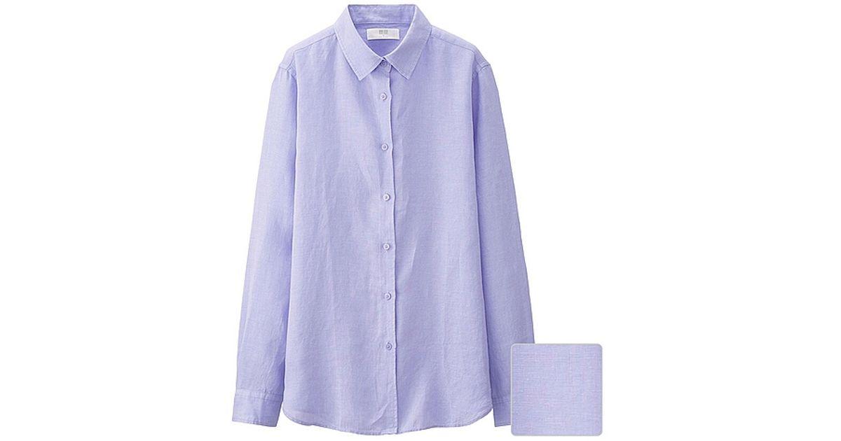 Uniqlo Premium Linen Long Sleeve Shirt In Purple Lyst