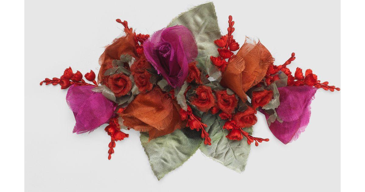 Lyst gucci flower brooch in silk and cotton mightylinksfo