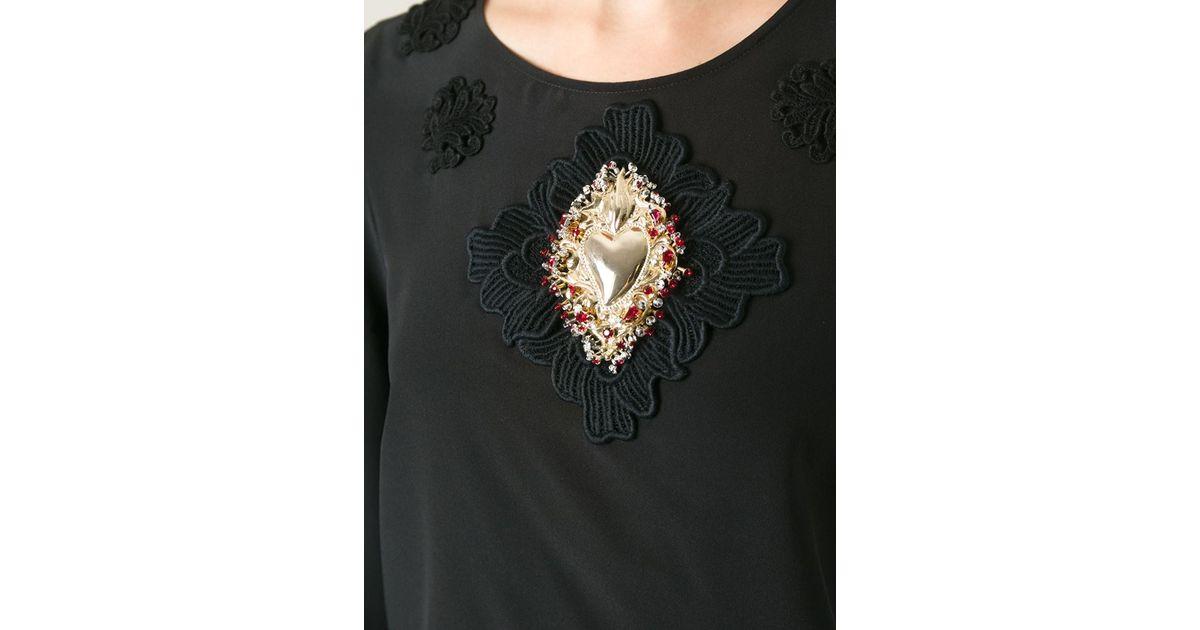 Lyst dolce gabbana sacred heart appliqué top in black