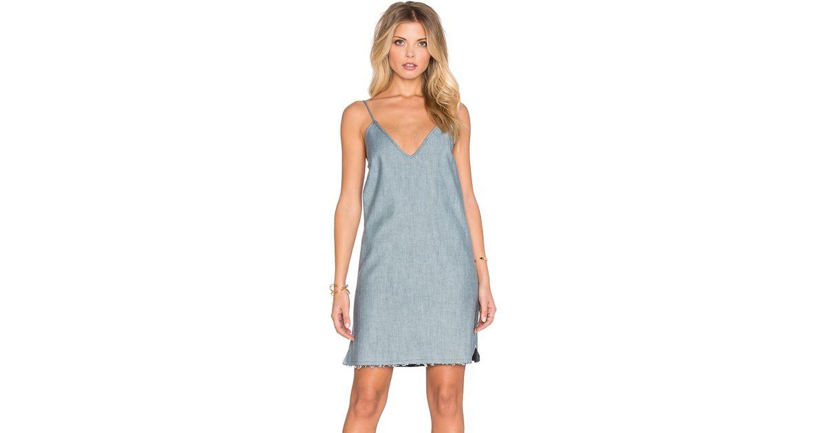 Lyst - Lucca Couture Denim Slip Dress in Blue