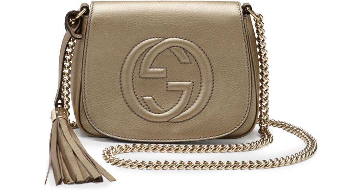 6efef6402eb Lyst - Gucci Soho Metallic Leather Chain Crossbody Bag in Natural