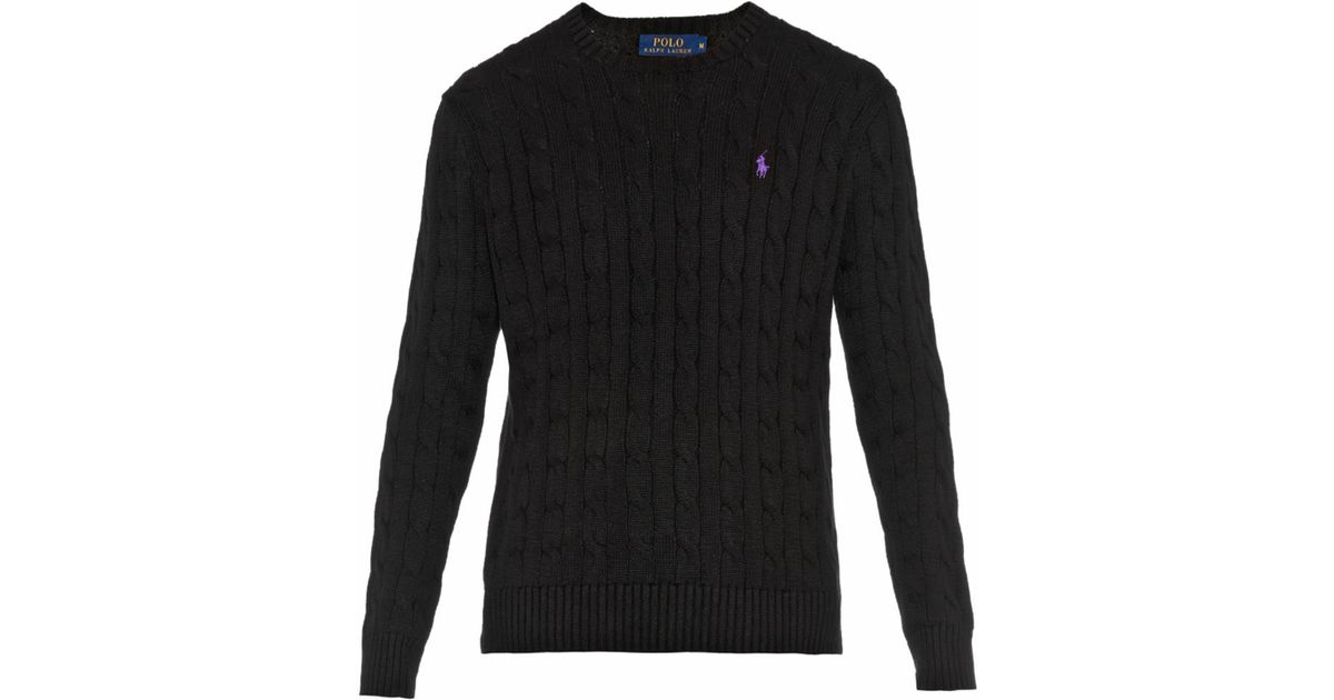 20a008f5579d92 Polo Ralph Lauren Cable-Knit Cotton Sweater in Black for Men - Lyst