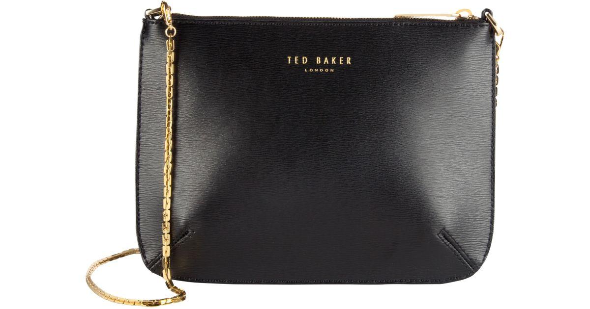 de58a95858b4 Ted Baker Harley Leather Crosshatch Cross Body Bag in Black - Lyst