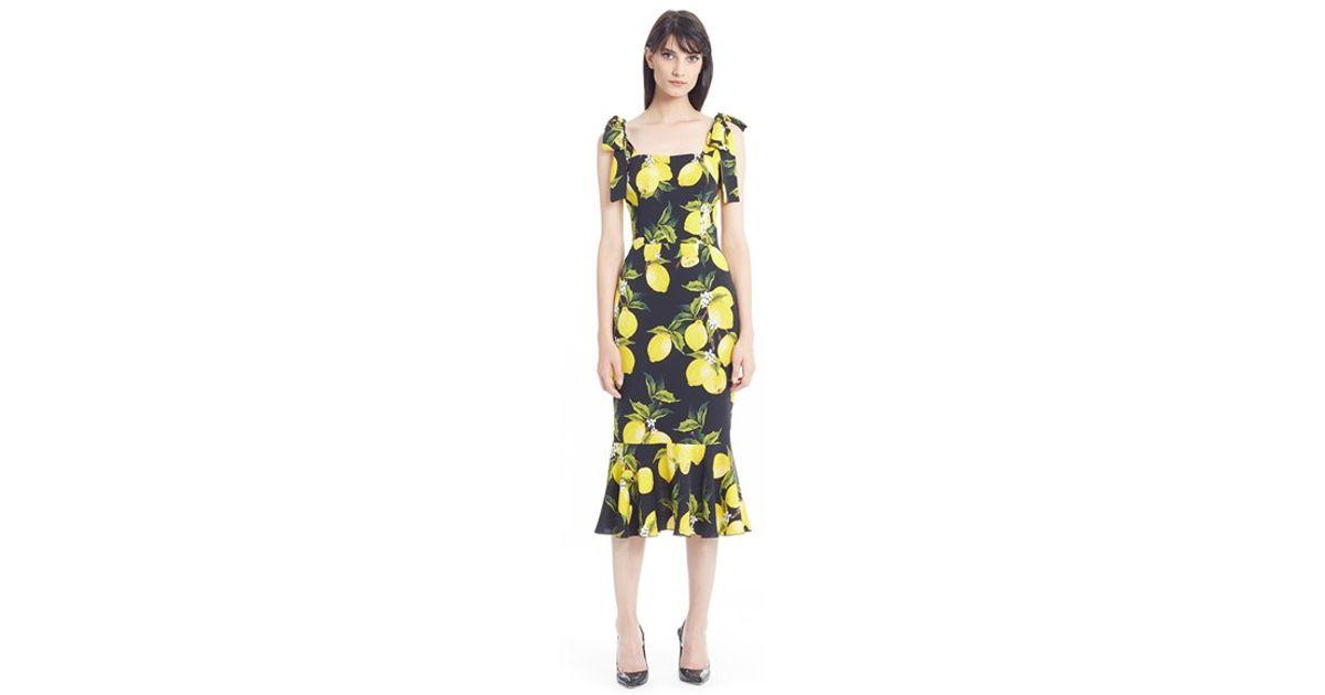 644fb946eadf Dolce & Gabbana Lemon-Print Stretch-Silk Dress in Yellow - Lyst