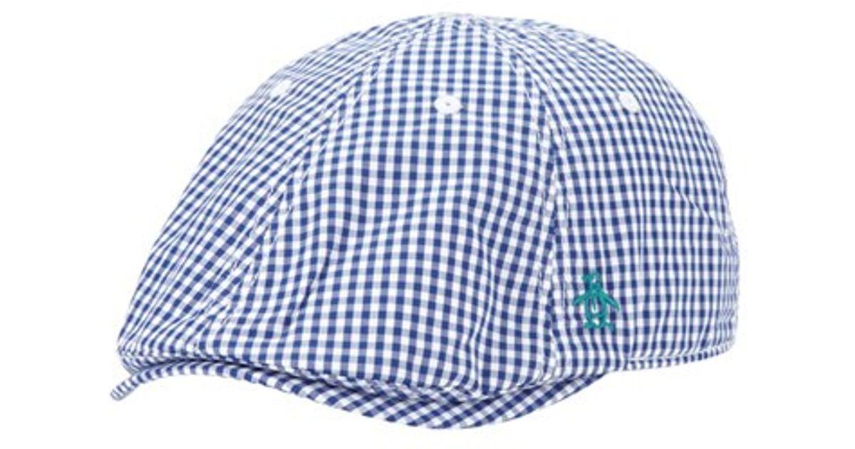 1d0974ef64fcc Lyst - Original Penguin  bannock  Gingham Check Driving Cap in Blue for Men
