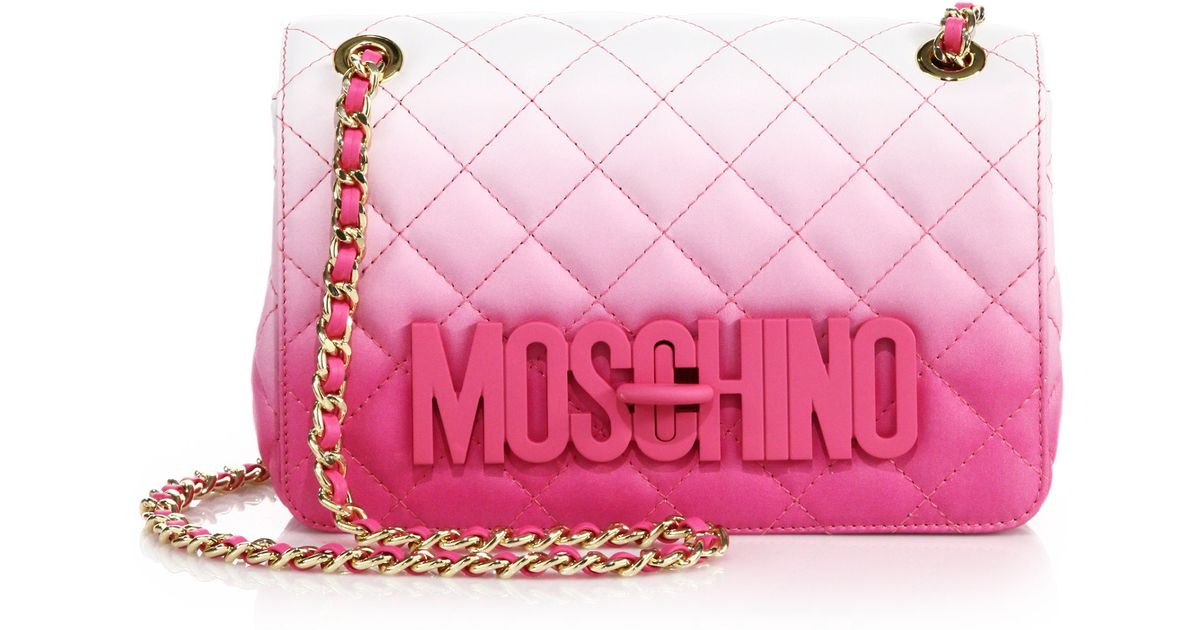 d9f2eeb497 Moschino Small Dégradé Quilted Leather Crossbody Bag in Pink - Lyst