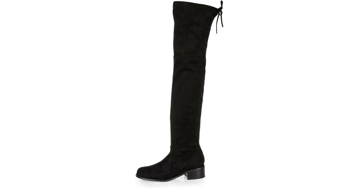6ab2e9f1956 Lyst - River Island Black Tie Back Over The Knee Boots in Black
