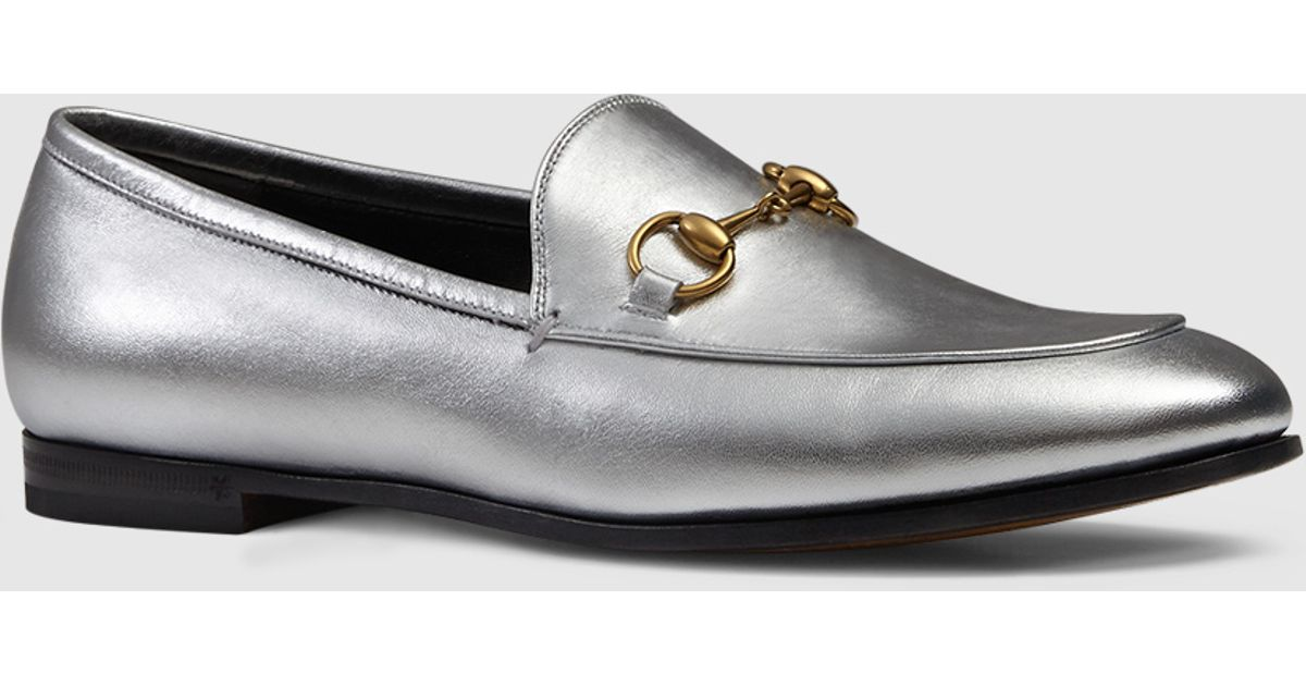 fcf2178957d6 Lyst - Gucci Jordaan Metallic Loafer in Metallic
