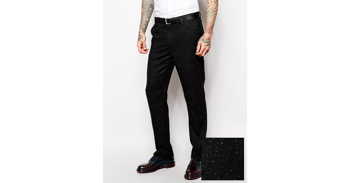 Asos Slim Fit Suit Pants In Fleck in Black for Men   Lyst