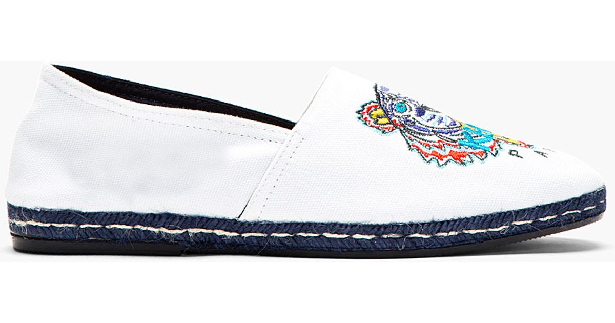 ca09084b KENZO White Canvas Embroidered Tiger Spoon Espadrilles in White for Men -  Lyst