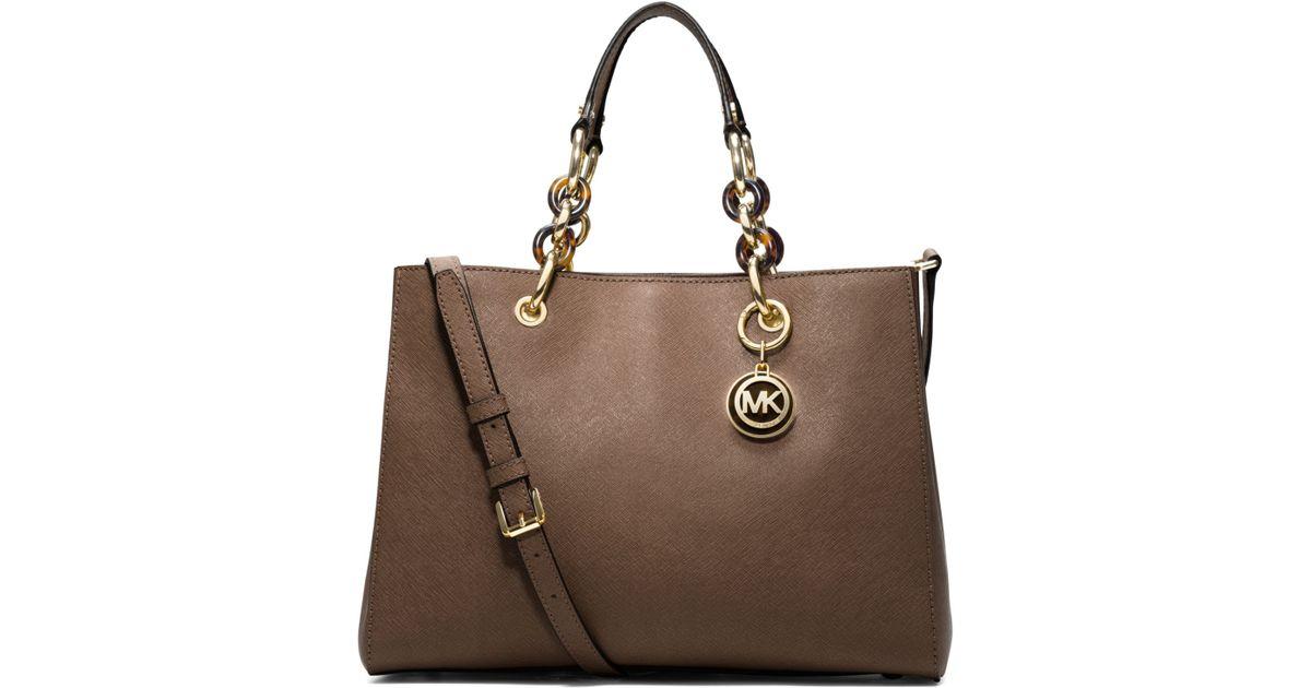117f35532e3a ... sweden lyst michael kors cynthia medium leather satchel in brown d6927  ff369