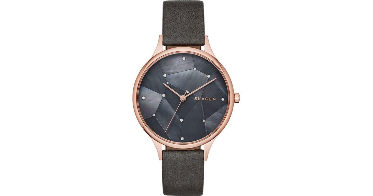 1083cb31956 Lyst - Skagen Women s Anita Rose Gold-tone Stainless Steel Leather Strap  Watch 34mm Skw2390 in Gray