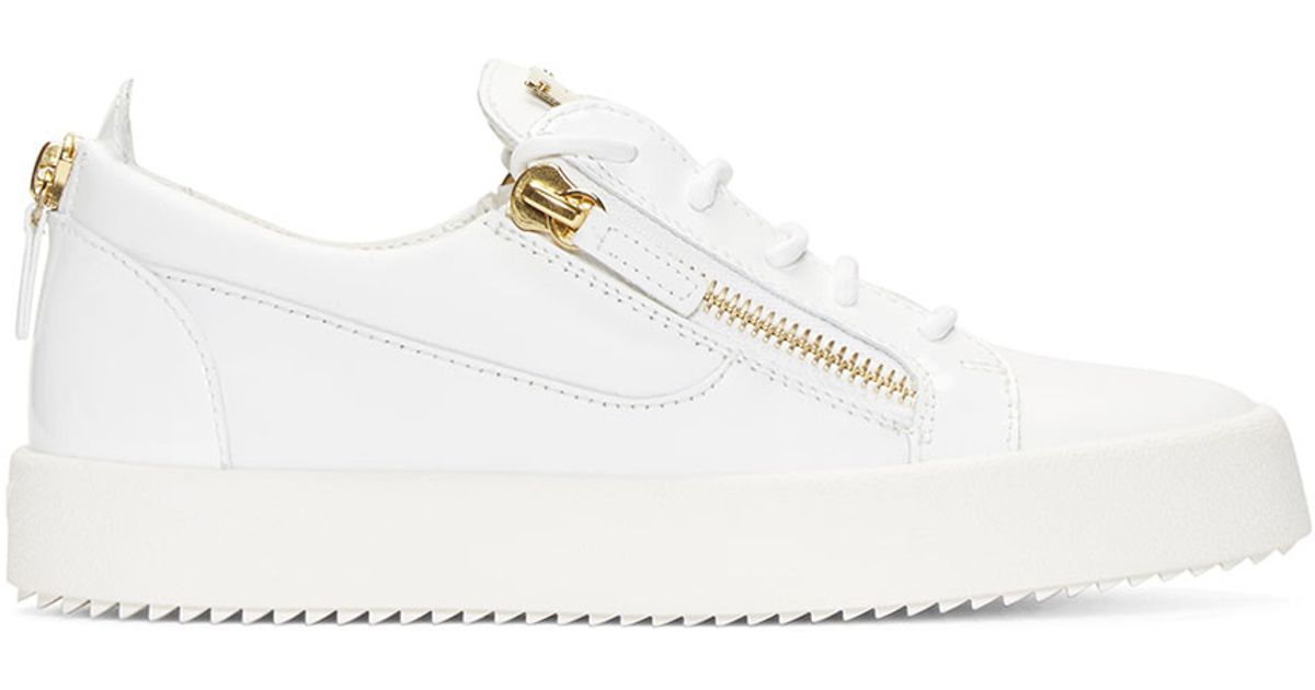 7d135e3cfd508 Giuseppe Zanotti White & Gold Leather Low-top London Sneakers in White for  Men - Lyst
