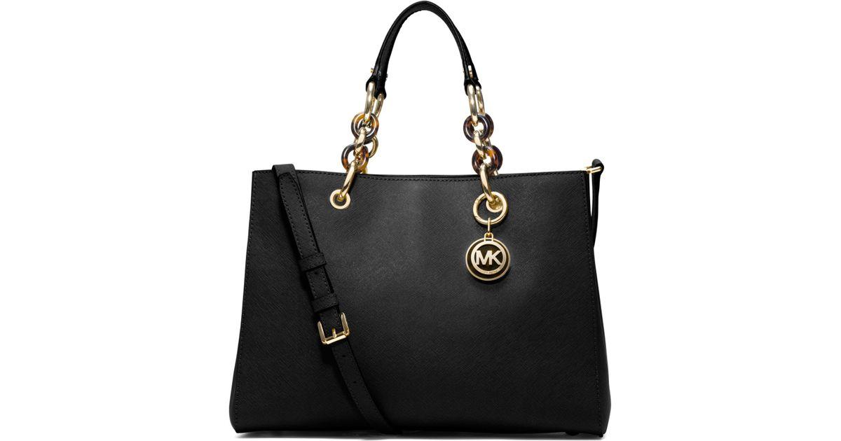 6d3a5ea8884f ... reduced lyst michael kors cynthia medium leather satchel in black ff94d  f1ad0