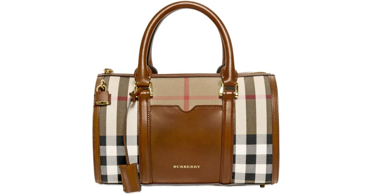 55133709d47 Burberry Medium Alchester Bridle House Check Bag in Brown - Lyst